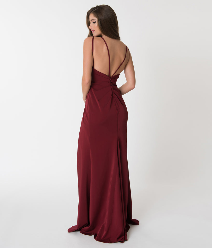 Burgundy Red Sexy Pleated Long Dress