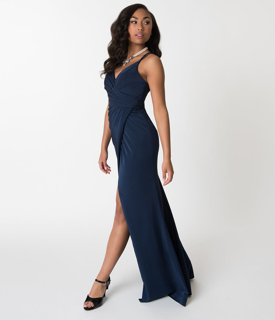 Navy Blue Sexy Pleated Long Dress