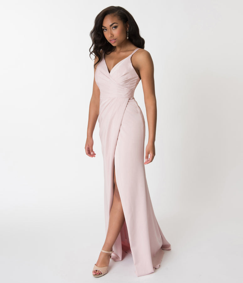 Tea Rose Pink Sexy Pleated Long Dress