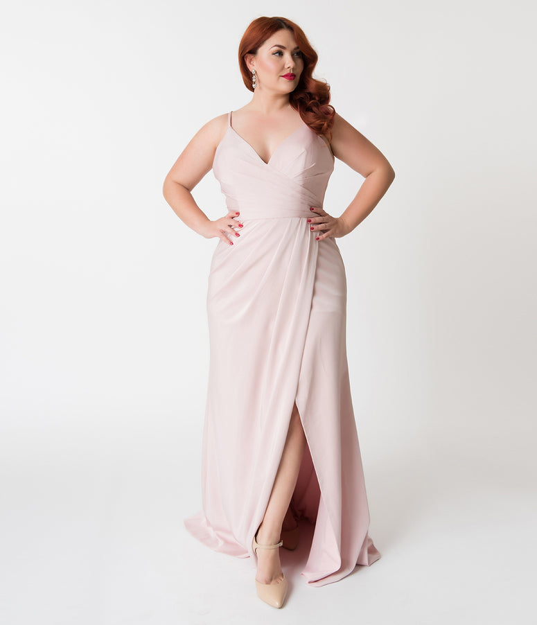 Plus Size Tea Rose Pink Sexy Pleated Long Dress