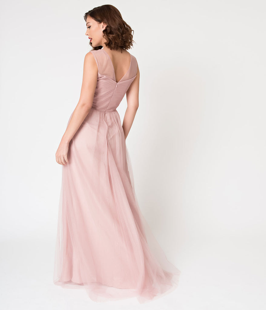 Blush Pink Mesh Wrapped Sweetheart Neckline Long Dress