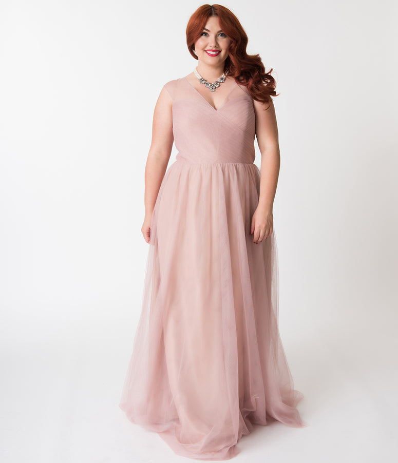 Plus Size Blush Pink Mesh Wrapped Sweetheart Neckline Long Dress
