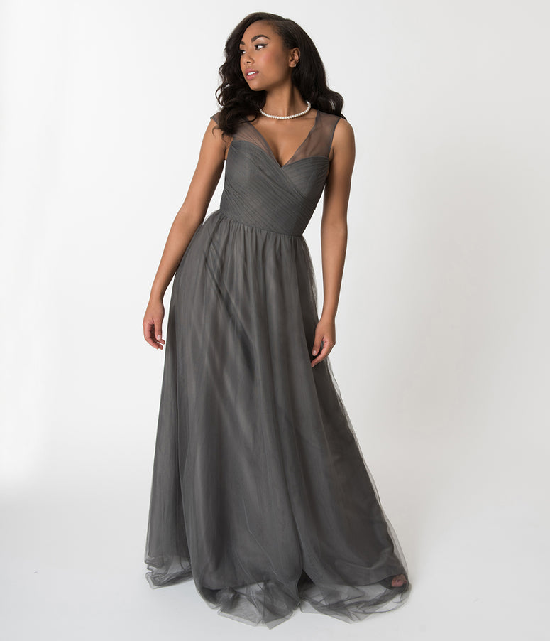 Charcoal Grey Mesh Wrapped Sweetheart Neckline Long Dress