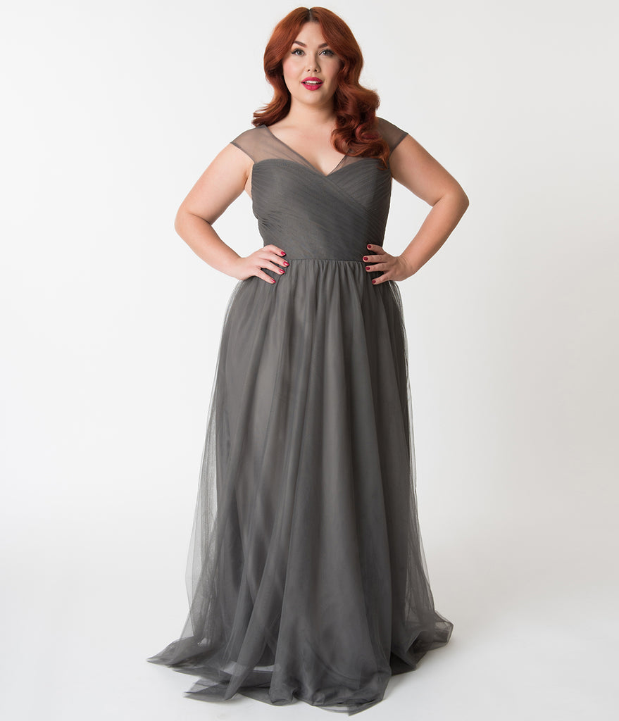 c2df462b9a42 Plus Size Charcoal Grey Mesh Wrapped Sweetheart Neckline Long Dress –  Unique Vintage