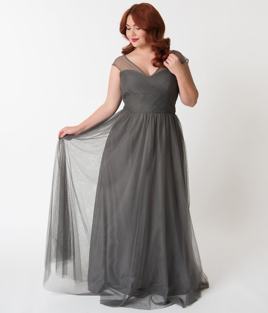 021ae1c2548 Plus Size Charcoal Grey Mesh Wrapped Sweetheart Neckline Long Dress