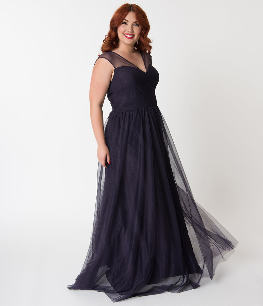 Plus Size Dark Plum Mesh Wrapped Sweetheart Neckline Long Dress