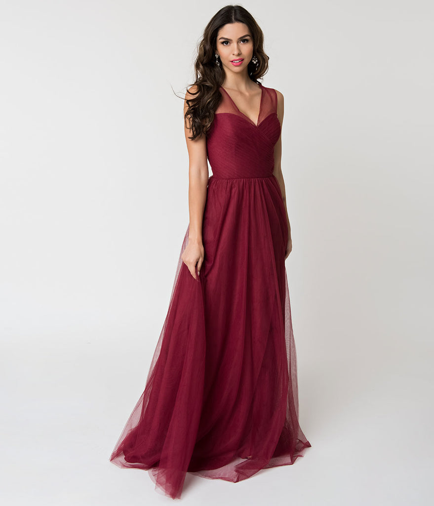 6abca824a14 Deep Red Mesh Wrapped Sweetheart Neckline Long Dress – Unique Vintage