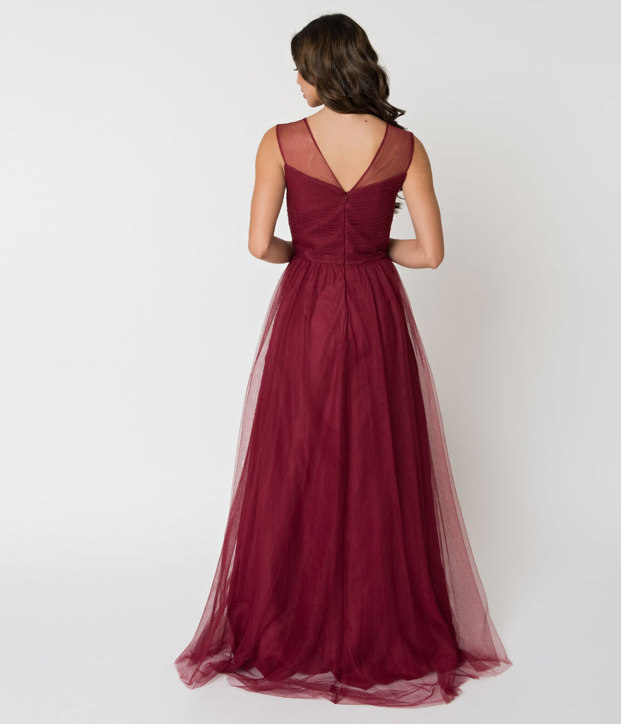 Deep Red Mesh Wrapped Sweetheart Neckline Long Dress