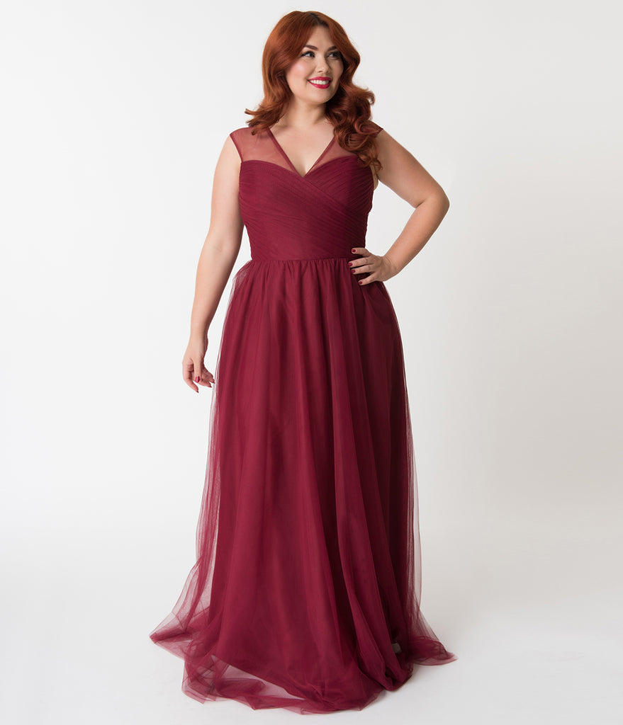 Plus Size Deep Red Mesh Wrapped Sweetheart Neckline Long Dress ...