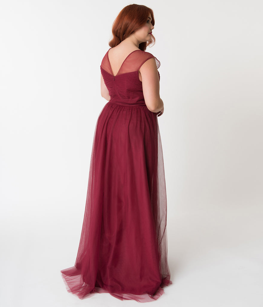 Plus Size Deep Red Mesh Wrapped Sweetheart Neckline Long Dress