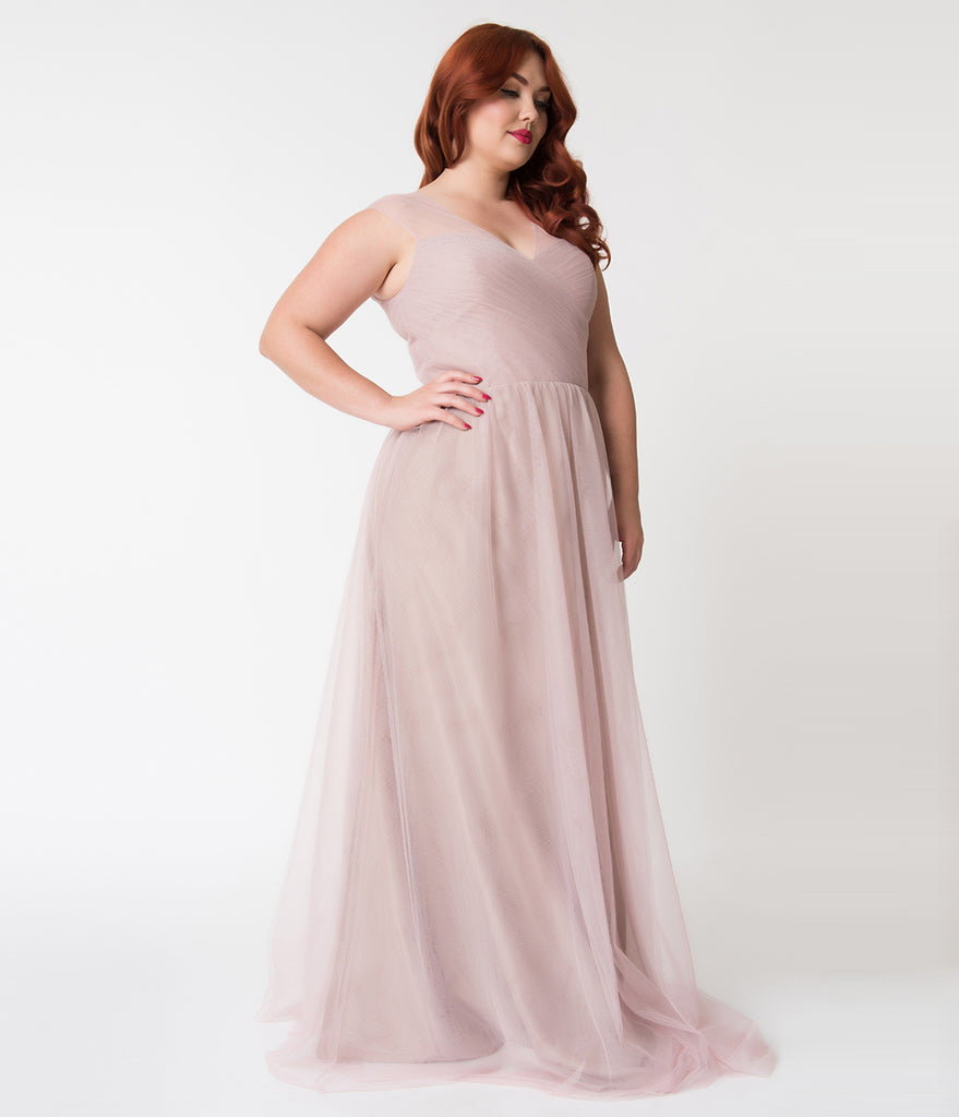 Plus Size Dusty Rose Mesh Wrapped Sweetheart Neckline Long Dress