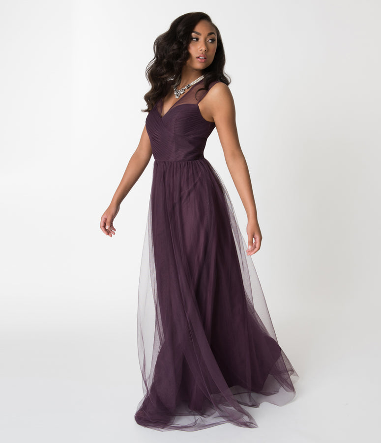 Eggplant Purple Mesh Wrapped Sweetheart Neckline Long Dress