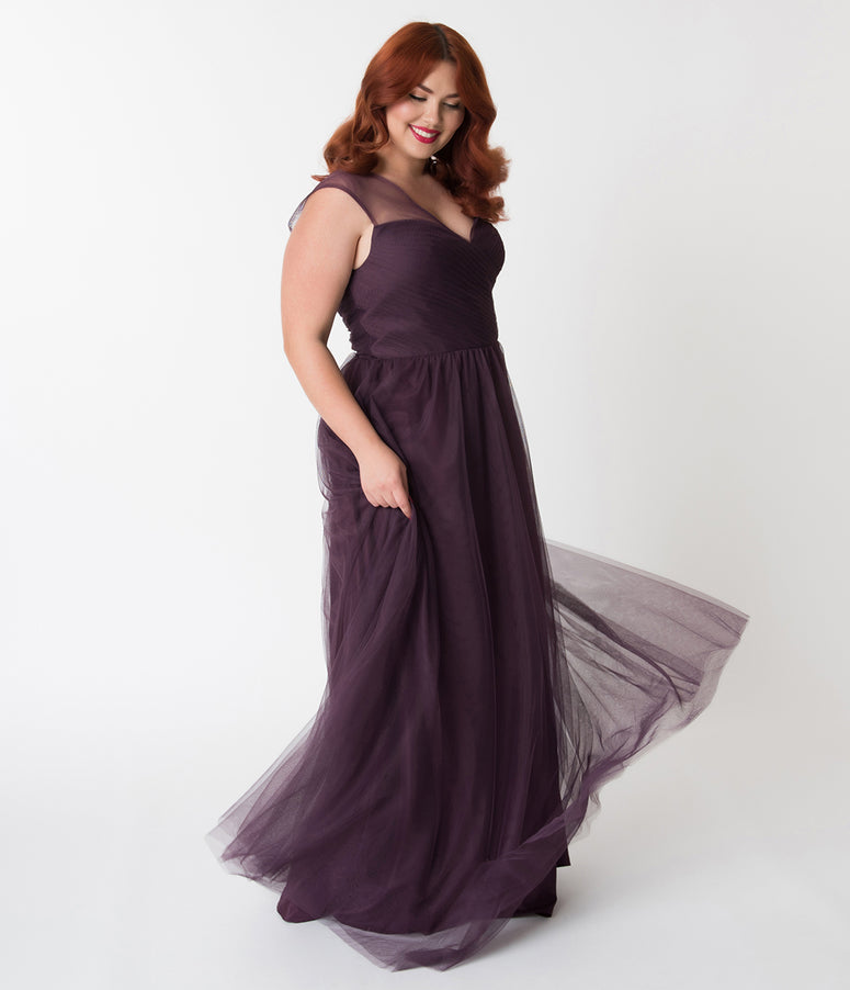 Plus Size Eggplant Purple Mesh Wrapped Sweetheart Neckline Long Dress
