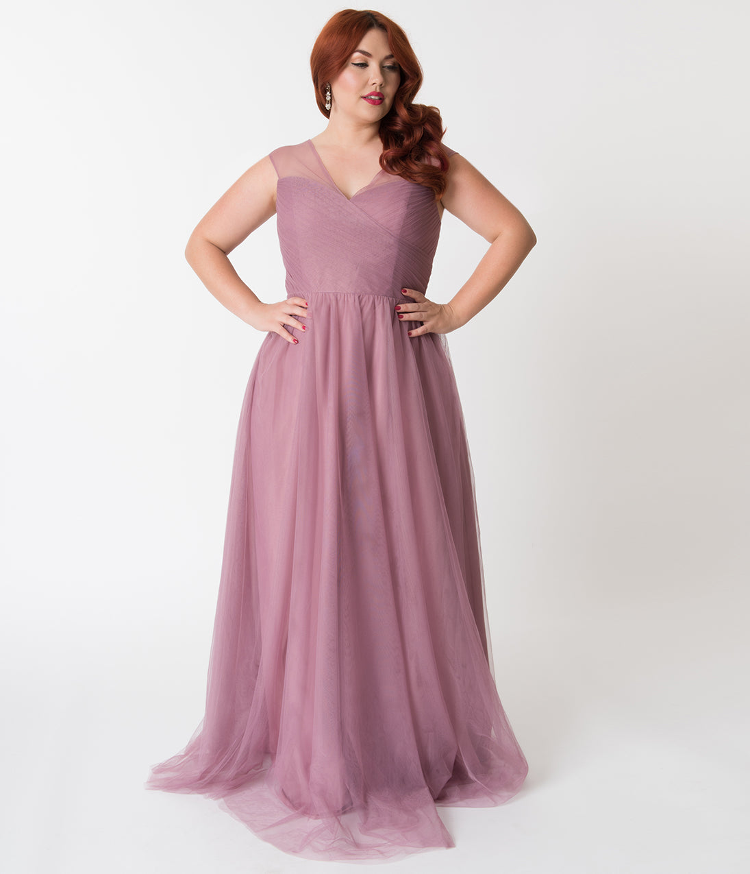 1950s Style Cocktail Dresses & Gowns Plus Size Pink Orchid Mesh Wrapped Sweetheart Neckline Long Dress $110.00 AT vintagedancer.com