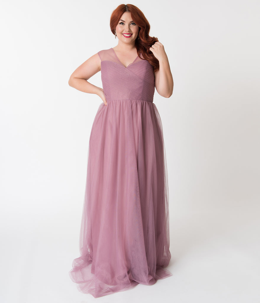 Plus Size Pink Orchid Mesh Wrapped Sweetheart Neckline Long Dress