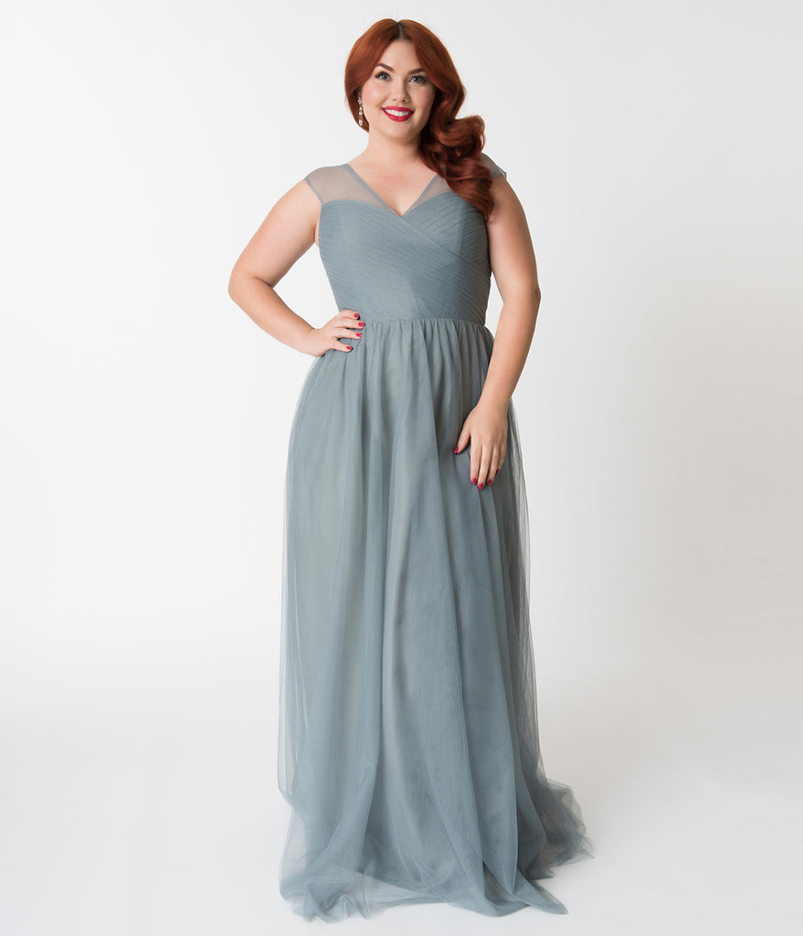 Plus Size Paris Blue Mesh Wrapped Sweetheart Neckline Long Dress ...