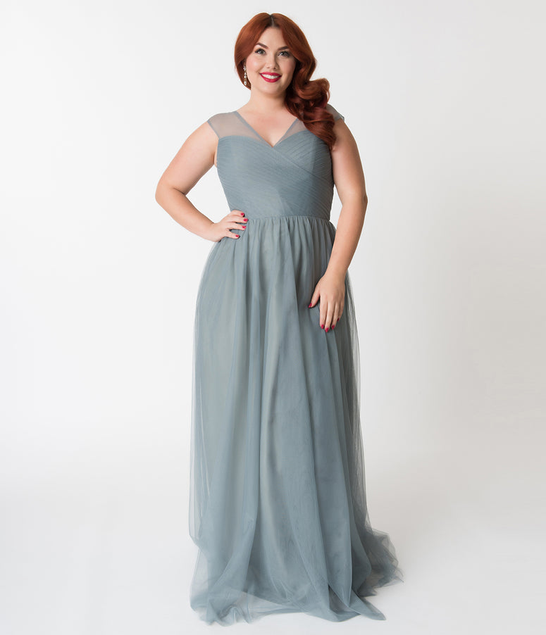 Plus Size Paris Blue Mesh Wrapped Sweetheart Neckline Long Dress