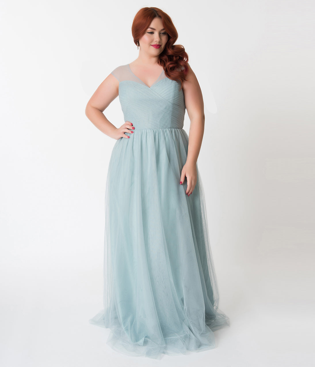 1950s Plus Size Dresses, Swing Dresses Plus Size Robin Blue Mesh Wrapped Sweetheart Neckline Long Dress $110.00 AT vintagedancer.com