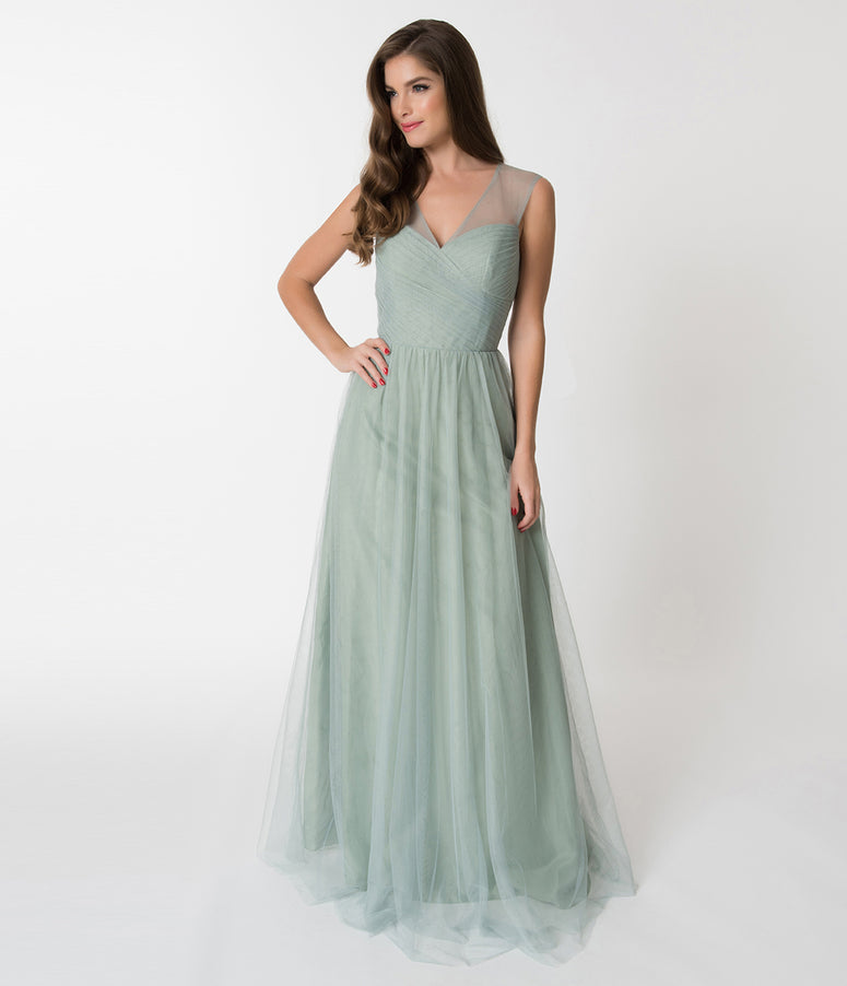 Sage Green Mesh Wrapped Sweetheart Neckline Long Dress