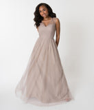 Tan Sand Mesh Wrapped Sweetheart Neckline Long Dress