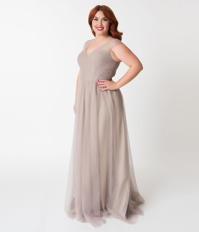 Plus Size Tan Sand Mesh Wrapped Sweetheart Neckline Long Dress