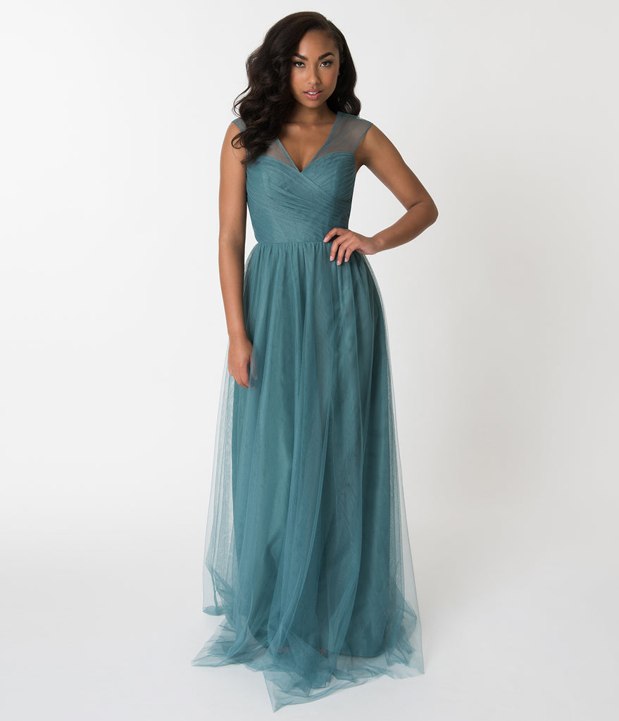 Teal Green Mesh Wrapped Sweetheart Neckline Long Dress