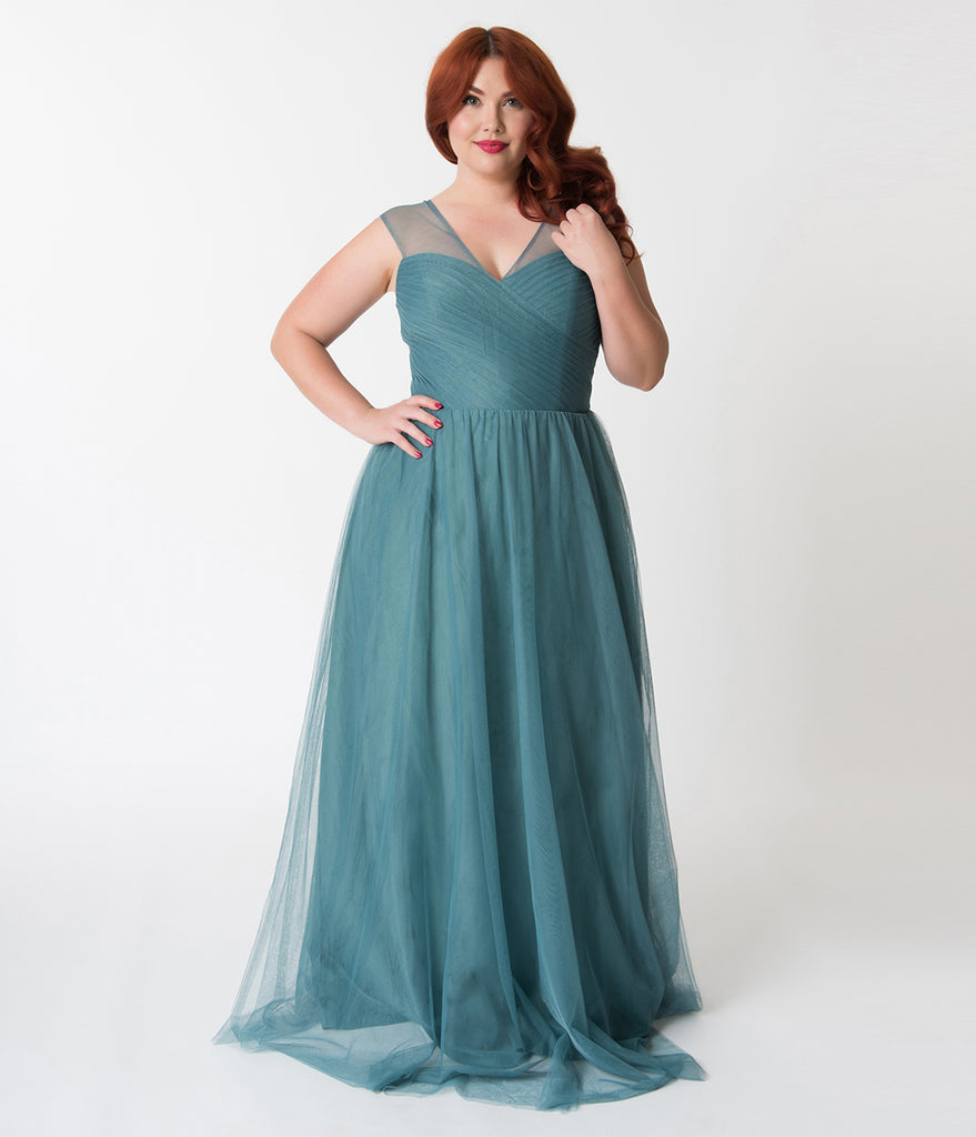 a07ed00c52f Plus Size Teal Green Mesh Wrapped Sweetheart Neckline Long Dress – Unique  Vintage