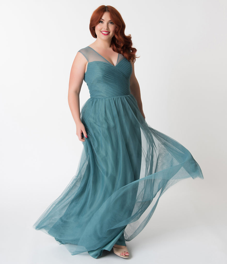 Plus Size Teal Green Mesh Wrapped Sweetheart Neckline Long Dress