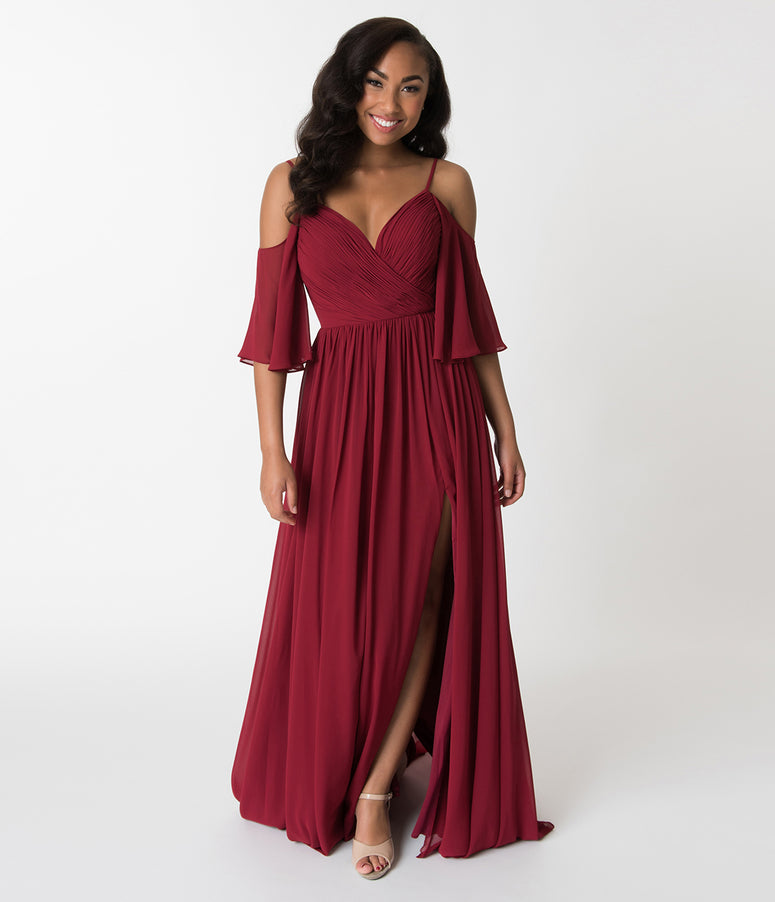 Burgundy Off The Shoulder Flutter Sleeves Pleated Chiffon Dress