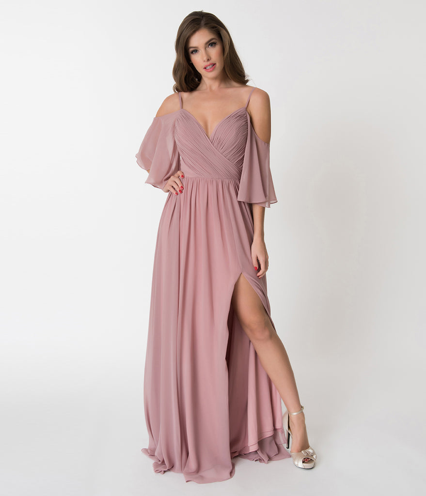 Mauve Pink Off The Shoulder Flutter Sleeves Pleated Chiffon Dress