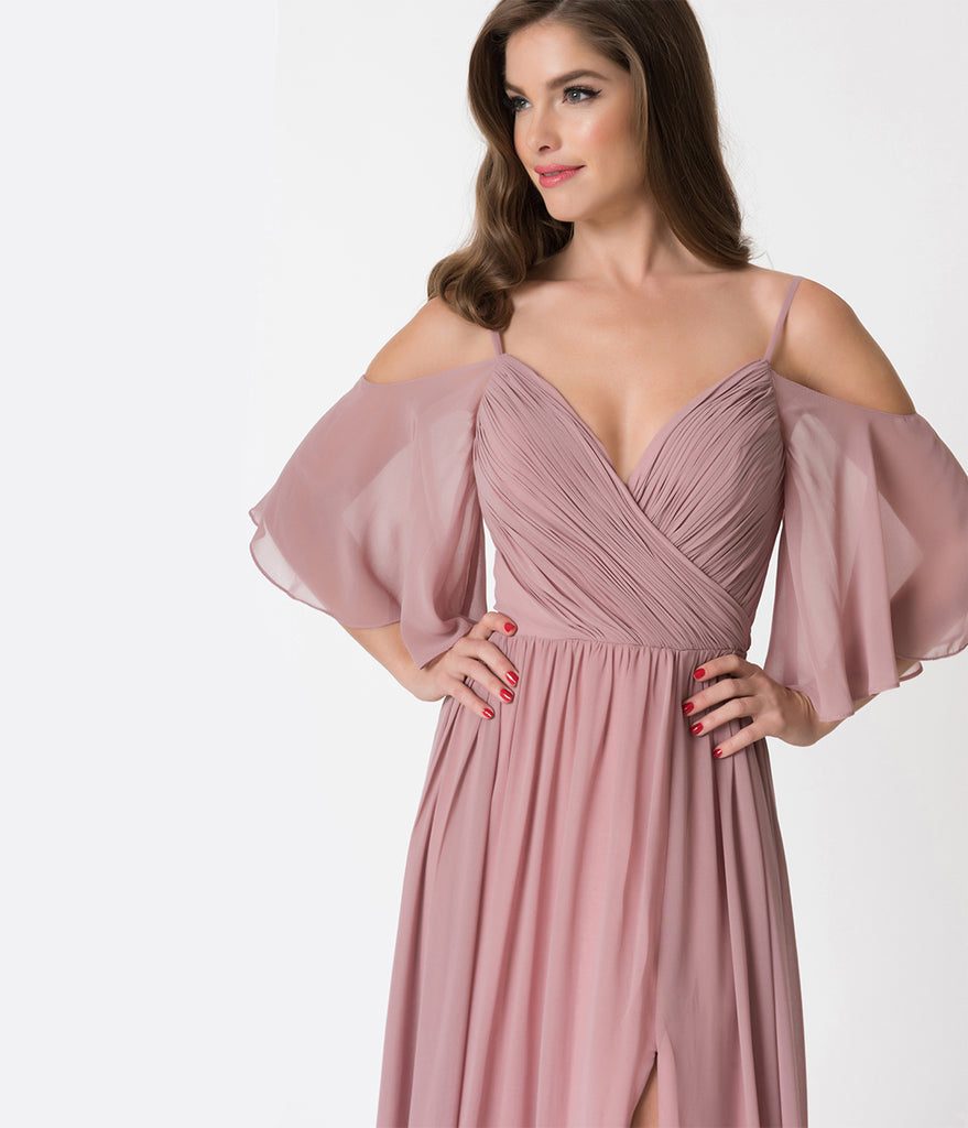 Mauve Pink Off The Shoulder Flutter Sleeves Pleated Chiffon Dress ...
