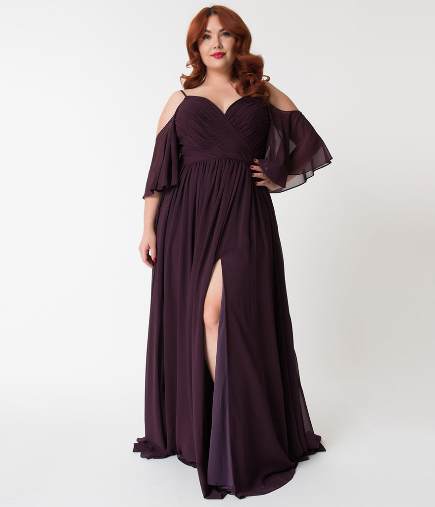 Plus Size Plum Purple Off The Shoulder Flutter Sleeves Pleated Chiffon Dress