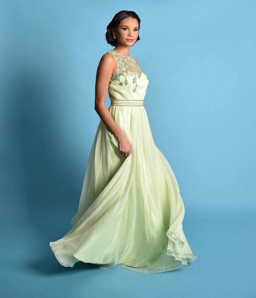 Lime Green Embellished Mesh Illusion Prom Gown – Unique Vintage