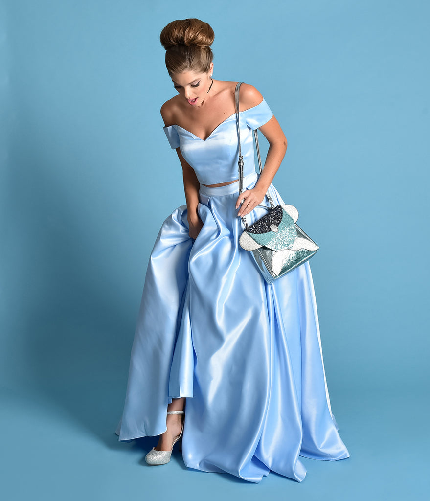 Perry Blue Off The Shoulder Two Piece Satin Prom Gown – Unique Vintage