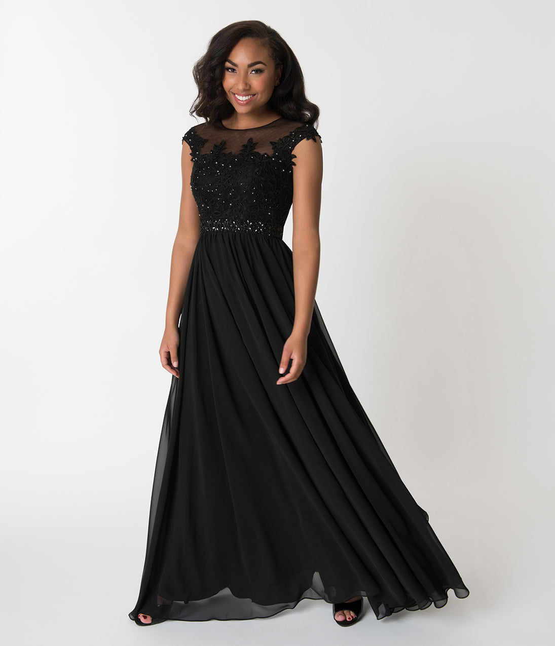 1950s Prom Dresses & Party Dresses Black Embellished Lace  Chiffon Cap Sleeve Prom Gown $142.00 AT vintagedancer.com