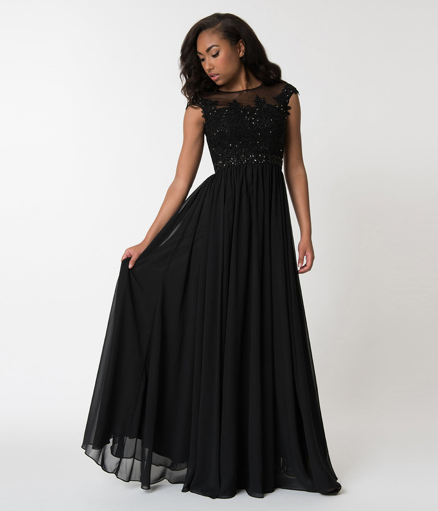 Black Embellished Lace & Chiffon Cap Sleeve Prom Gown