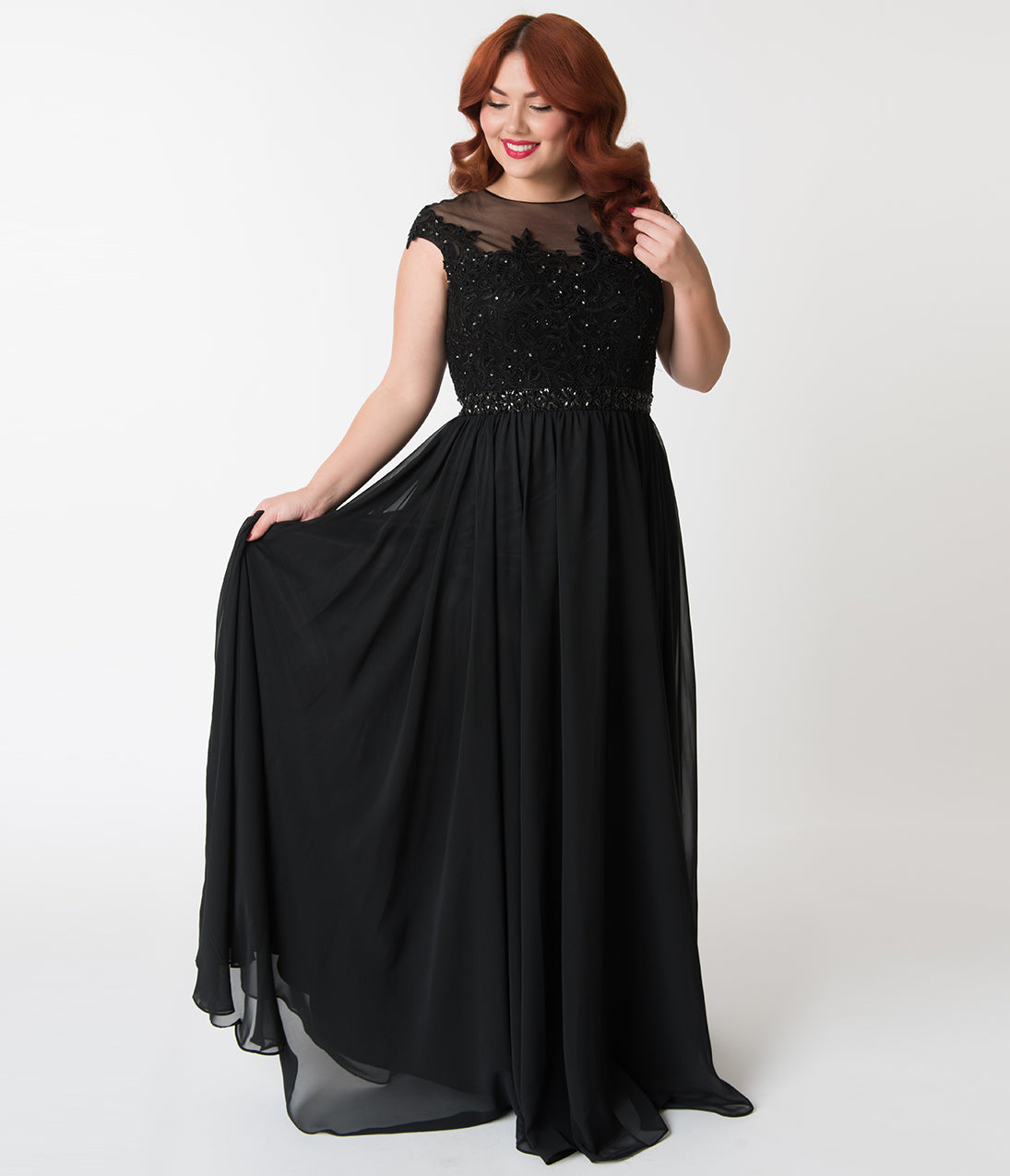 1930s Evening Dresses | Old Hollywood Dress Plus Size Black Embellished Lace  Chiffon Cap Sleeve Prom Gown $142.00 AT vintagedancer.com