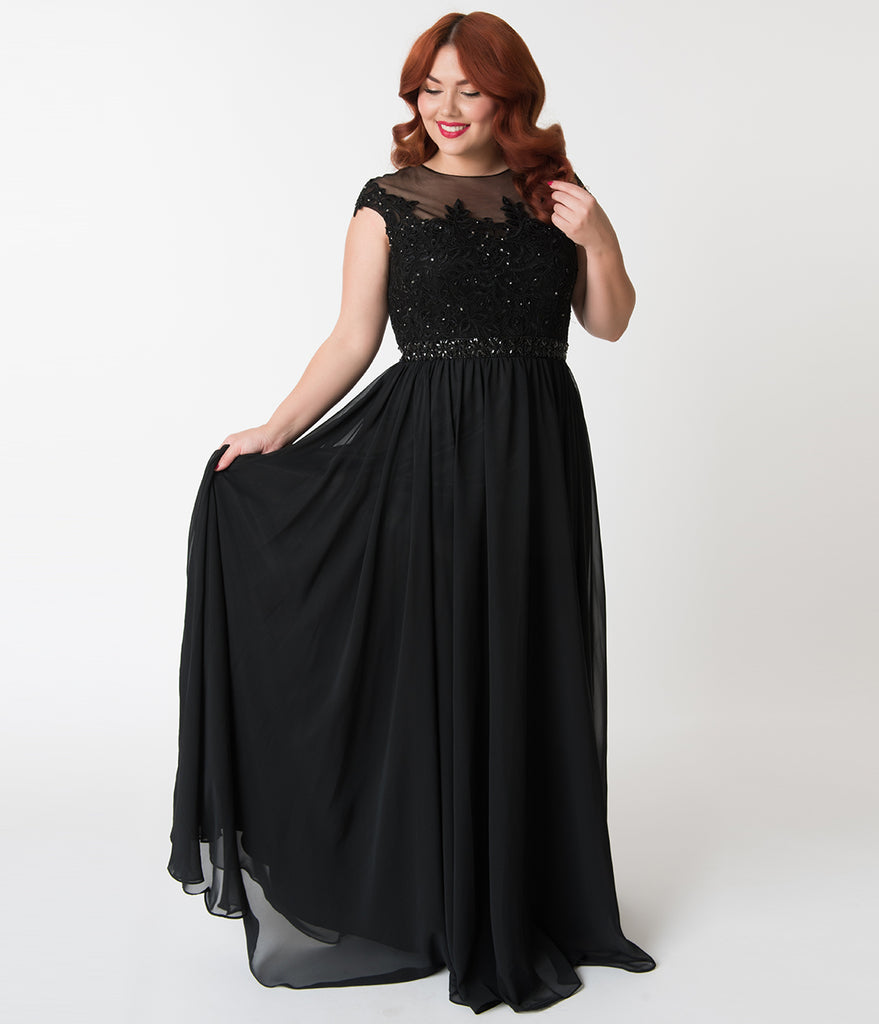 Plus Size Black Embellished Lace & Chiffon Cap Sleeve Prom Gown ...
