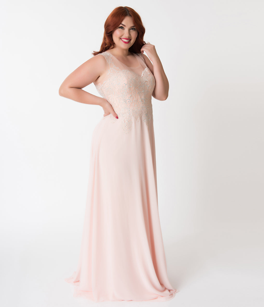 1950s Plus Size Fashion & Clothing History Plus Size Peach Pink  Silver Rhinestone Embellished Chiffon Gown $142.00 AT vintagedancer.com