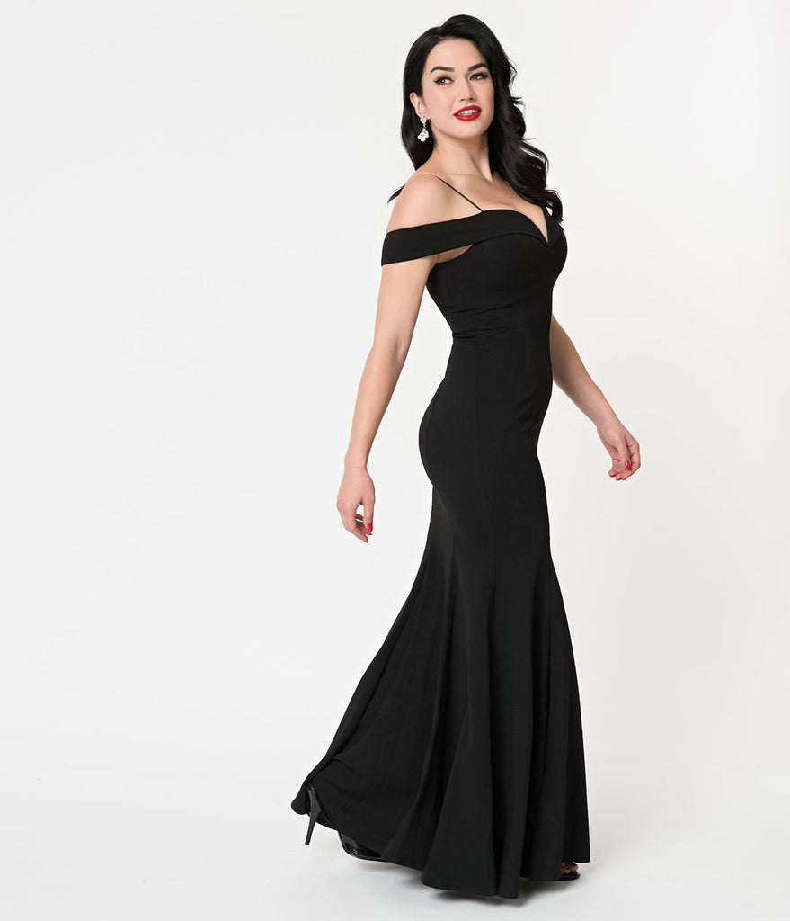 256471798b15 Black Bateau Neckline Mermaid Style Full Length Gown – Unique Vintage