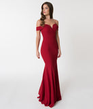 Red Bateau Neckline Mermaid Style Full Length Gown