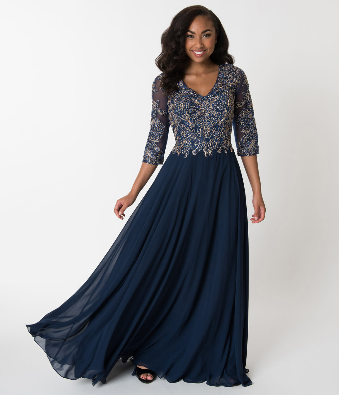 1940s Evening, Prom, Party, Cocktail Dresses & Ball Gowns Navy Blue  Gold Embellished Appliqué Sleeved Chiffon Gown $168.00 AT vintagedancer.com