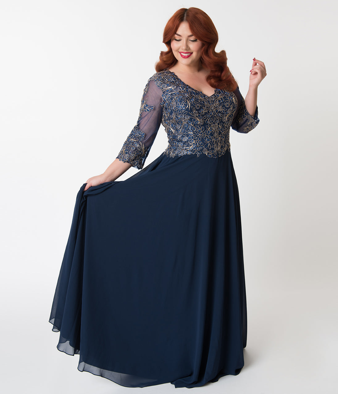 1940s Evening, Prom, Party, Cocktail Dresses & Ball Gowns Plus Size Navy Blue  Gold Embellished Appliqué Sleeved Chiffon Gown $168.00 AT vintagedancer.com
