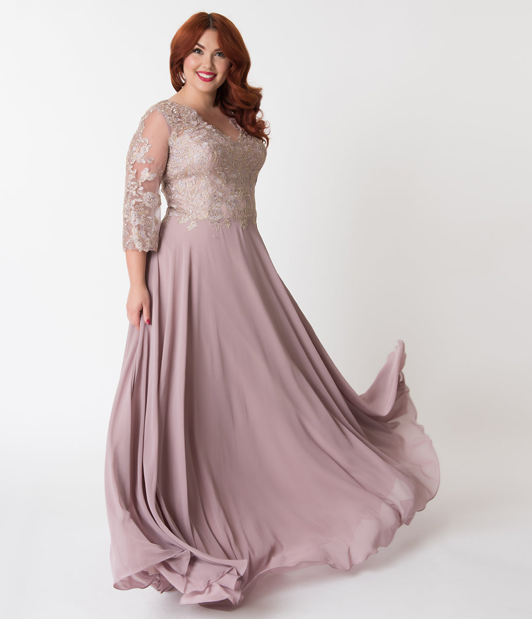 1940s Evening, Prom, Party, Cocktail Dresses & Ball Gowns Plus Size Mocha  Gold Embellished Appliqué Sleeved Chiffon Gown $168.00 AT vintagedancer.com