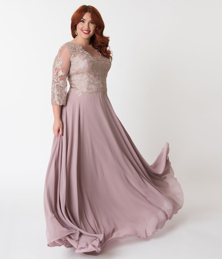 Plus Size Mocha & Gold Embellished Appliqué Sleeved Chiffon Gown