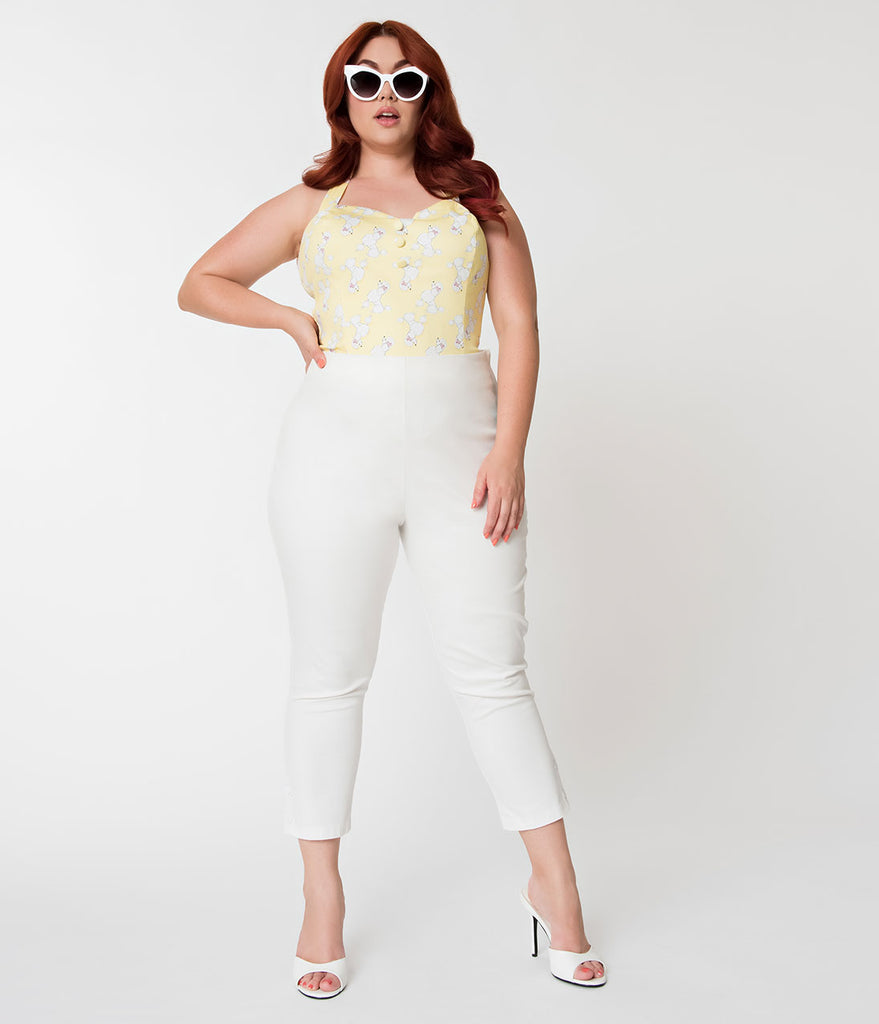 Janie Bryant For Unique Vintage Plus Size White High Waist Savoy Capris