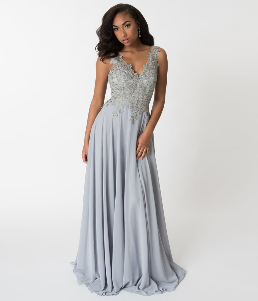 Silver Embellished Floral Lace Chiffon V Neck Gown