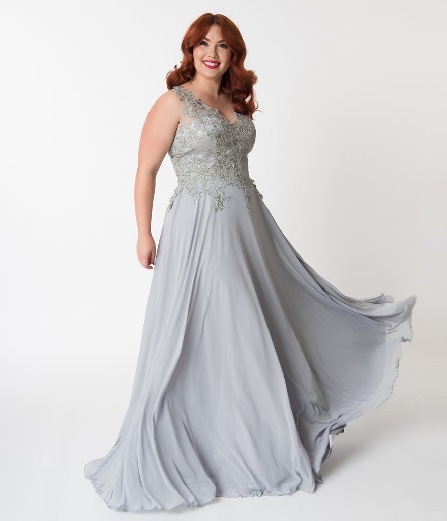 Plus Size Silver Embellished Floral Lace & Chiffon V-Neck Gown ...