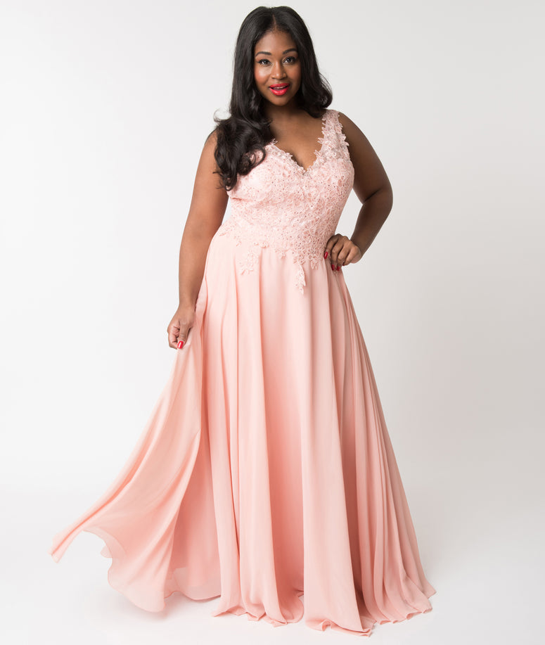 Plus Size Blush Pink Embellished Floral Lace & Chiffon V-Neck Gown