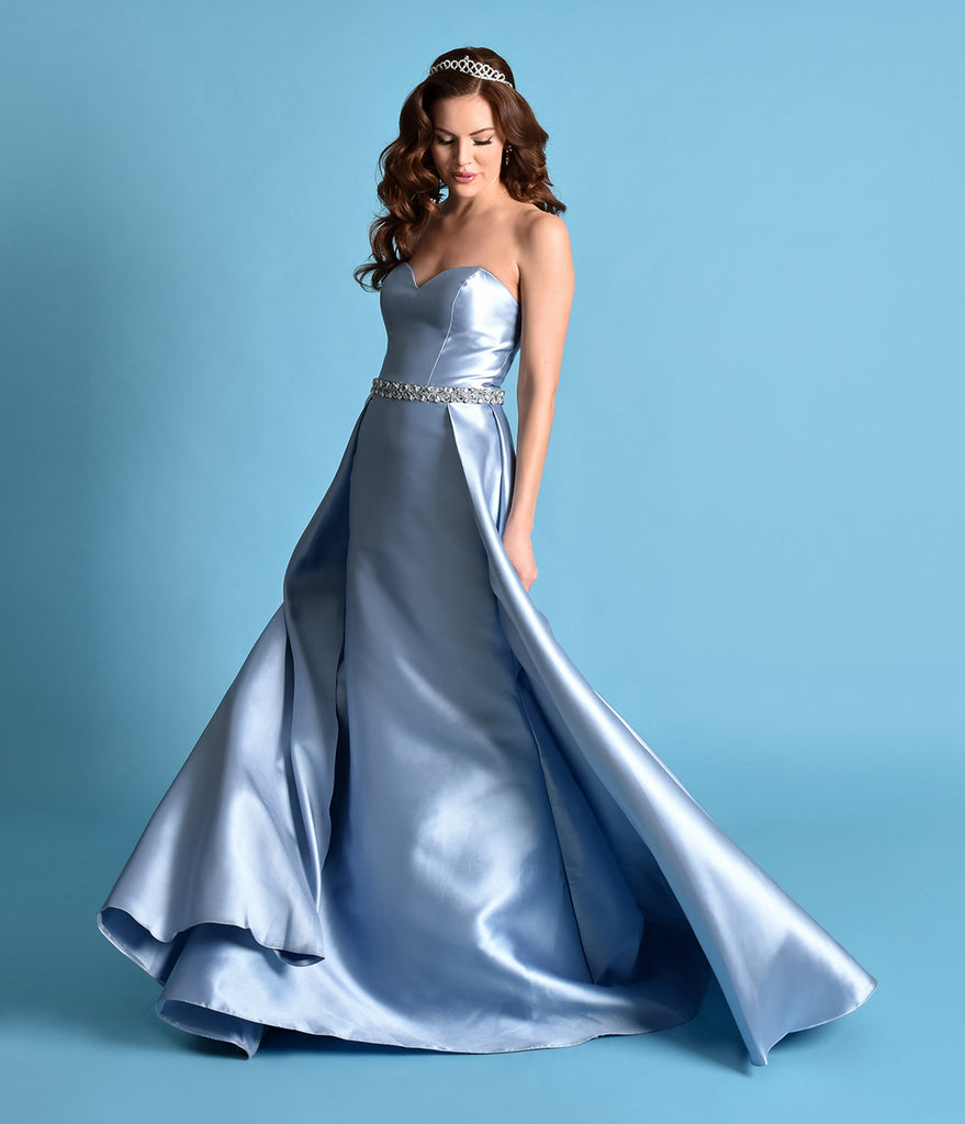 Perry Blue Strapless Sweetheart Neckline Satin Prom Gown – Unique ...
